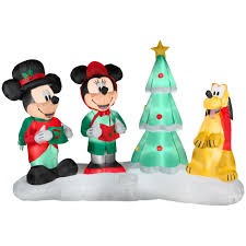 disney lightshow mickey choiring airblown christmas decoration