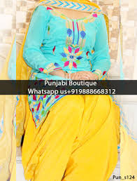 sky blue and yellow embroidered suit product code pun s124 to