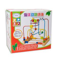 K He Holz Holz Cartoon Tiere Kreis Bead Maze Achterbahn Spielzeug Für Frühe