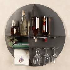 Wall Shelves Round Metal Divided Wall Shelf Wine Bar