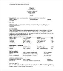 resume outline exle resume outlines resume sle