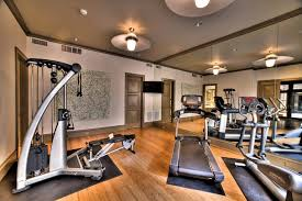 gym decor ideas home gym contemporary with ceiling lights mirror