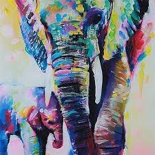 unframed cartoon animal elephant son oil painting abstract painting canvas wall art home decoration 50