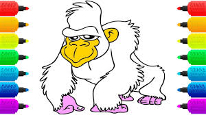 how to draw gorilla coloring book pages drawing and colouring