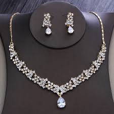 gold crystal bridal necklace images Dower me gold rhinestone women party prom jewelry set crystal jpg