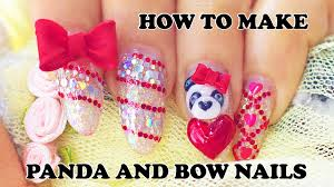 how to make 3d panda nails and bows charms with acrylic powder
