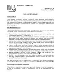 Driver Resume Samples by Excellent Job Summary And Mail Delivery Driver Resume Sample
