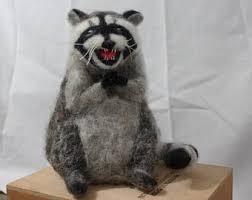 Evil Raccoon Meme - felted raccoon teacher s present felted apple needle