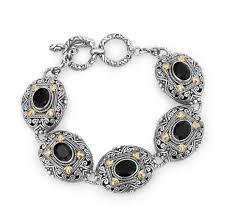 black onyx silver bracelet images Phillip gavriel sterling silver 18kyg balinese black onyx jpg
