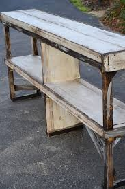 down to earth style sofa table made w wood scraps