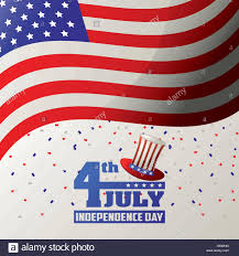 Usa Flag Vector 4th July Independence Day Usa Flag Waving Confetti Celebration