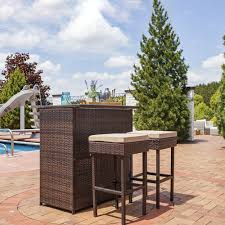 outdoor ls for patio sunnydaze melindi 3 piece outdoor patio bar set with cushions