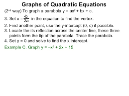 Moultonborough Business Dir by 1 2 The Graphs Of Quadratic Equations