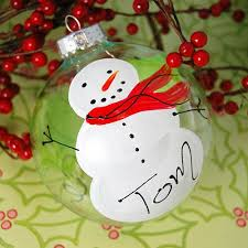 painted snowman glass ornament