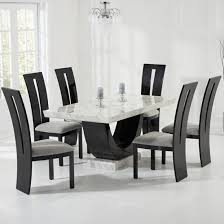 marble dining room sets allie marble dining table in cream with 6 ophelia grey chairs