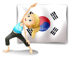 Flag Of South Korea Illustration Of A Exercising In Front Of The South Korean