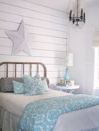 bedroom decorative hanging fan with lighting light blue wall
