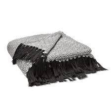 plaid noir canapé boutis plaid ou jeté de canapé jacquard motif diamant becquet