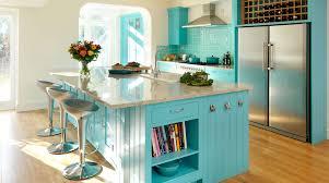 turquoise painted shaker kitchen from harvey jones
