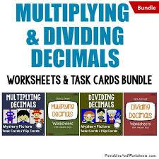 multiplying and dividing decimals task cards and worksheets bundle