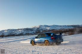 subaru drift snow drifting on icy roads from norway to lapland