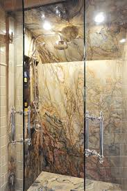 Master Bathroom Shower Ideas A Handpicked Slab Of Italian Granite On The Walls Of This J S