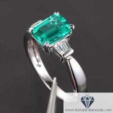 and emerald engagement rings emerald cut emerald baguette accent engagement ring