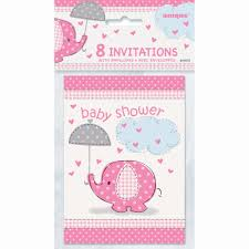 pink elephant baby shower invitations 8ct