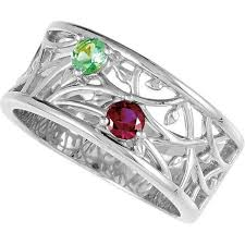mothers ring silver 2 birthstones s ring