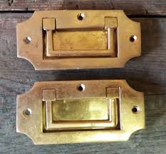 Antique Cabinet Door Pulls 2 Vintage Solid Brass Recessed Flush Door Drawer Cupboard Cabinet