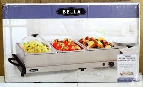 bella 2qt triple buffet server and warming tray for sale in