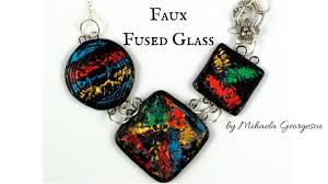 How To Make Fused Glass Jewelry - faux fused glass polymer clay tutorial using nail art foil