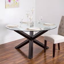 KSP Kona Round Glass Dining Table Walnut Round Glass - Glass for kitchen table