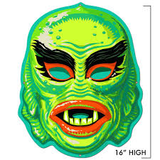 halloween usa howell mi cranky frankie mask metal sign retro a go go