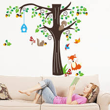 Vinyl Tree Wall Decals For Nursery by Amazon Com 150 X134cm Nursery Forest Animals Birds Fox Squirrel