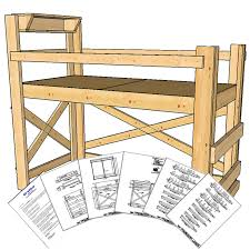 Loft Bed Plans See Also Full Size Loft Bed Plans Together Loft - Extra long twin bunk bed