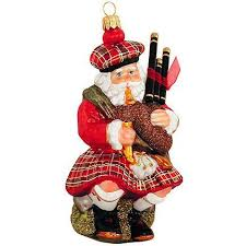 scottish bagpipe santa glass ornament ethnic pride