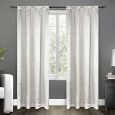 Winter Window Curtains Embossed Satin Winter White Rod Pocket Top Window Curtain Eh7994