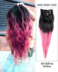 clip in human hair extensions 18 7pcs clip in human hair extensions t1b pink ombre