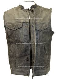 padded leather motorcycle jacket butter soft distressed grey son of anarchy style leather vest