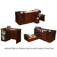 berg furniture sierra captain u0027s twin bed with pull out desk