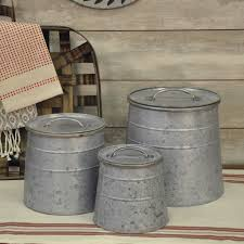 country kitchen canisters galvanized canisters set 3 piper
