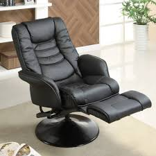 Recliners Walmart Coaster Swivel Recliner In Black Leatherette Walmart Com