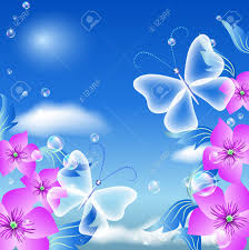 butterflies and flowers in the sky royalty free cliparts vectors