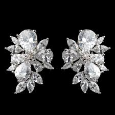 cluster stud earrings multi cut cz cluster stud wedding earrings