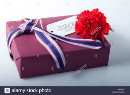 wrapped gift box wrapped gift box with carnation flower and gift tag stock