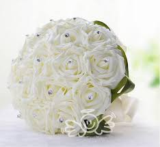 White Rose Bouquet 2015 Glamorous White Rose Wedding Bridal Bouquet Hand Made Flowers