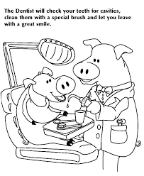 dentist coloring pages printable dental health pig checking for in