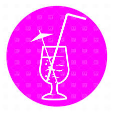 martini glass with umbrella party cocktail with straw and umbrella vector clipart image 1748