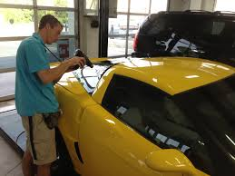 one piece rear window tinting yellow corvette grand sport clear